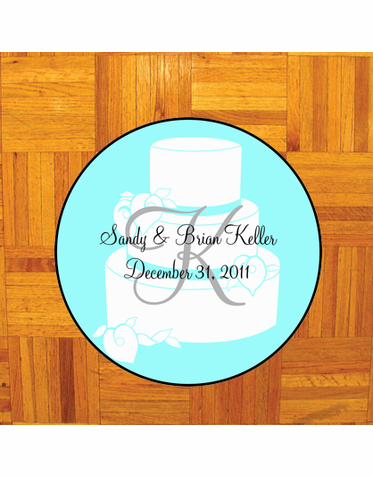 Custom Cake Design Dance Floor Decal - Blue Monogram Decal