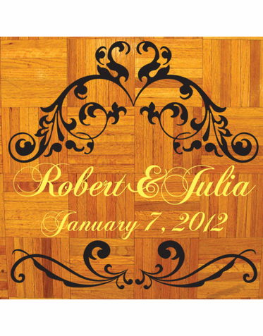 Custom Flourish Dance Floor Decal in Yellow