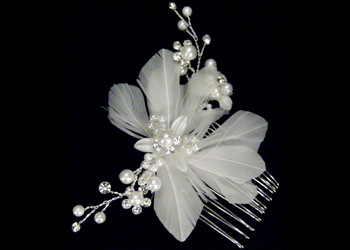 Ivory Feather and Flower Spray Headpiece-S2303
