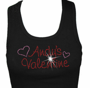 His Valentine Rhinestone Tank or Tee with Hearts
