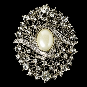 Elegant Vintage Crystal Bridal Pin for Hair or Gown Brooch 28