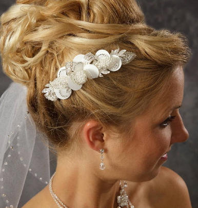 Unique Bridal Comb with Ribboned Rhinestone Loops and Pearl Leaves 8024
