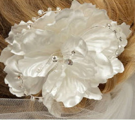 Satin Flower with Rhinestone Wire Loops 8020