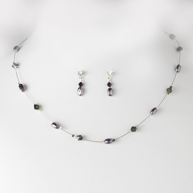 Plum Pearl and Crystal Necklace and Earrings Set
