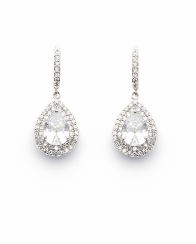 CLEARANCE: David Tutera Claire Pendant Zirconia Earrings