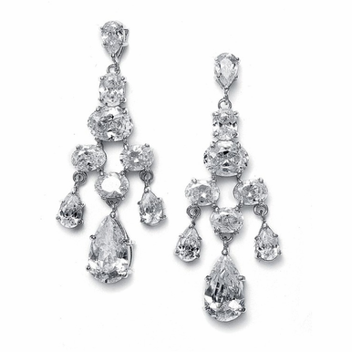 Shimmering Pear And Round Zirconia Chandelier Earrings