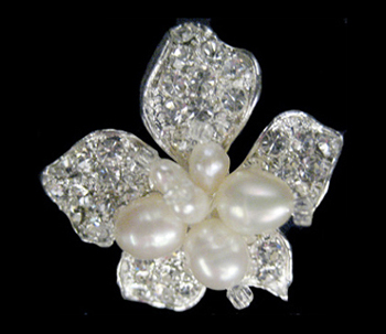 Freshwater Pearl and Rhinestone Brooch with Crystals-158
