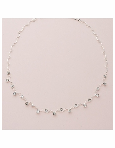Clear Crystal Silver Necklace