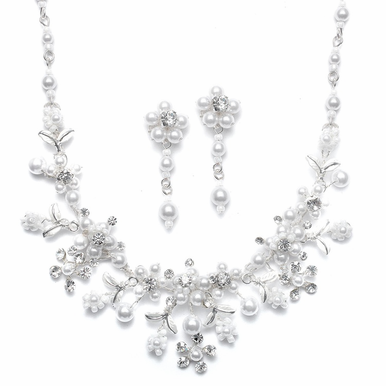 Captivating White Pearl Garden Necklace And Earrings Set