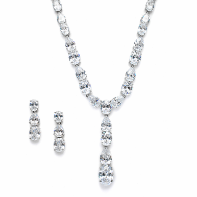 Breathtaking Wedding Necklace with Cubic Zirconia Ovals & Pears