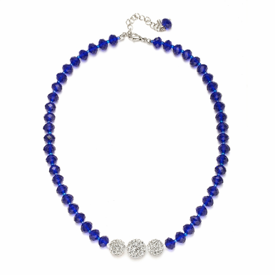 Hand Crafted Faceted Glass Bead And Crystal Fireball Necklace  Available In 22 Colors