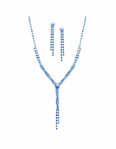 Elegant Rhinestone Tassel Necklace And Drop Earring Set  Three Rhinestone Colors