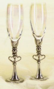 Double Hearts Pewter Wedding Toasting Flutes