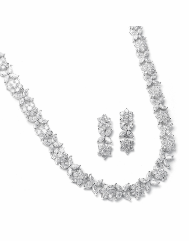 Elegant Floral Zirconia Necklace Set
