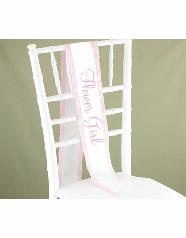 Pink and White Flower Girl Sash