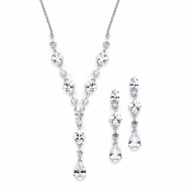 Enchanting Drop Zirconia Necklace Set