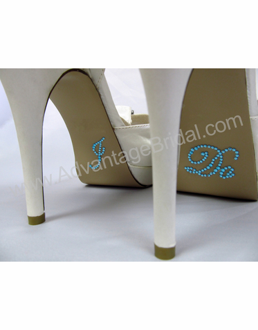 I Do Shoe Stickers for Bridal Shoes - Aqua Crystals