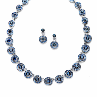 Stunning Crystal Encrusted Medallion Necklace And Earring Set   Three Color Options