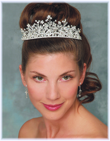 Crystal and Rhinestone Floral Tiara 7246