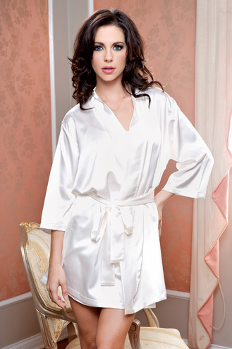 Ivory or White Satin Robe - Bride Robe
