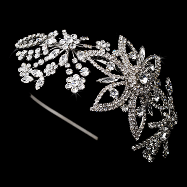 Antique Silver and Crystal Headband 9997