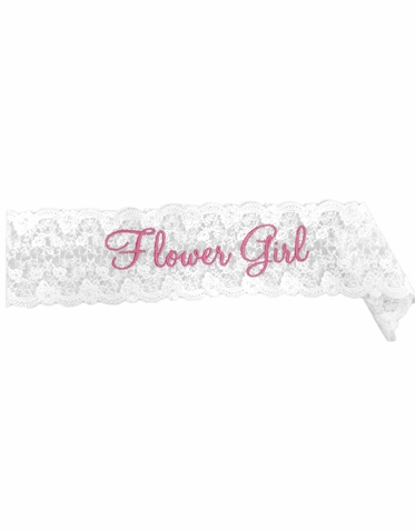Embroidered Lace Flower Girl Sash