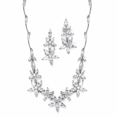 Floral Cubic Zirconia Wedding Necklace Set