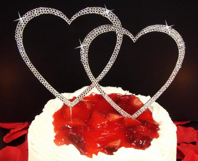 Double Crystal Covered Heart Cake Topper in Silver or Gold