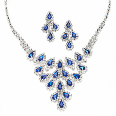 Stunning Pear Rhinestone Cascade Necklace Set Available In Black, Royal And Purple