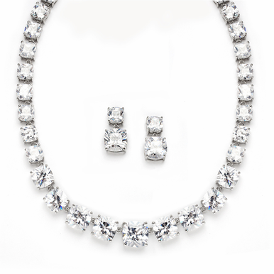 Opulent Radiant Cut Cubic Zirconia Wedding Necklace Set