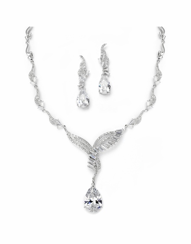 Luxurious Heirloom Baguette Bridal Necklace Set