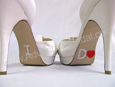 I Do Shoe Stickers for Bridal Shoes - Red