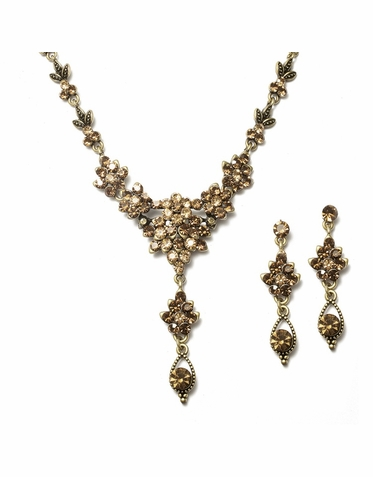 Exquisite Vintage-Inspired Austrian Crystal Clusters Drop Necklace Set Available In Four Colors