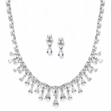 Captivating Cubic Zirconia Teardrops Wedding Necklace And  Earrings Set