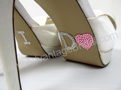 I Do Shoe Stickers for Bridal Shoes - Pink