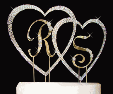 Crystal Covered Double Heart with Two Initials Cake Topper