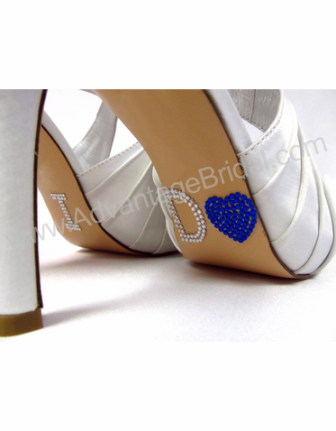 I Do Shoe Stickers for Wedding Shoes - I Do Heart in Cobalt Blue