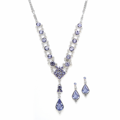 Gorgeous Tanzanite Teardrop Necklace Set