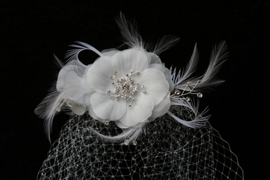 CLEARANCE: En Vogue Bridal Birdcage Veil with Flower Comb VF101