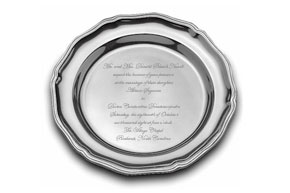 Engraved Silver Plate with Wedding Invitation Wording or Other Personalization