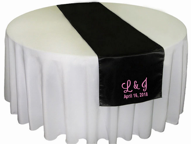 Satin Table Runner with Custom Embroidery