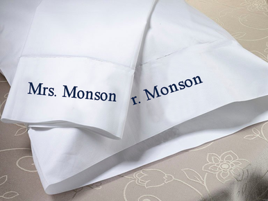 Personalized Pillowcase Set - Select Your Wording, Font and Thread Color!