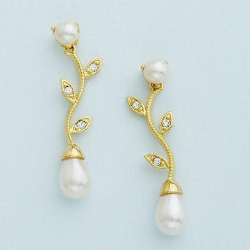 Gold Vine Pattern Earrings with Teardrop Ivory Pearl