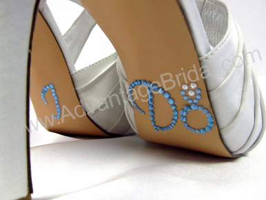 I Do Shoe Stickers for Wedding Shoes - Light Blue and Clear Ring