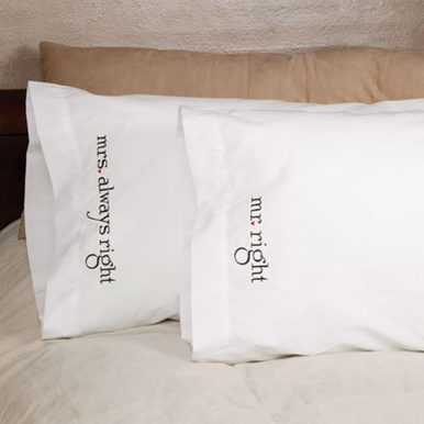 Mr Right and Mrs Always Right Pillow Case Set for the Bride and Groom