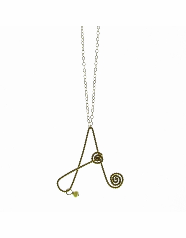 Rafia Jewelry - Medium Initial Charm Necklace in Gold
