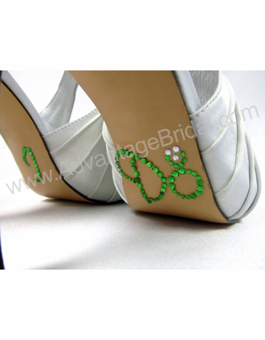 I Do Shoe Stickers for Bridal Shoes - Green and Clear Ring
