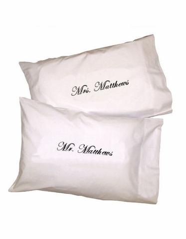 Personalized Embroidered Pillowcase Set for the New Mr. and Mrs.