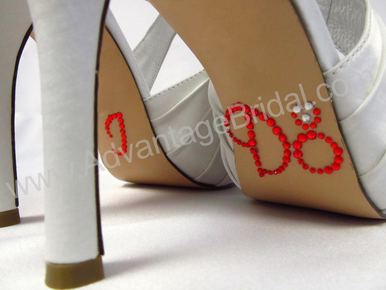 I Do Shoe Stickers for Bridal Shoes - Flame Red and Clear Ring