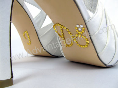 I Do Shoe Stickers for Bridal Shoes - Gold and Clear Engagement Ring